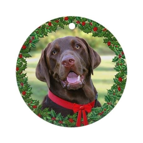 chocolate lab christmas ornament round by twinschoice2006