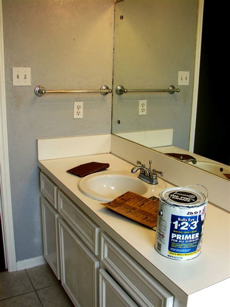 Spray Paint Countertops by Imperfect Treasures Spray Painted Bathroom Countertop