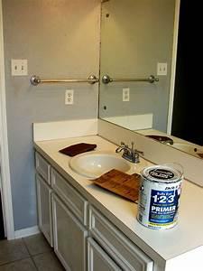 imperfect treasures spray painted bathroom countertop With painting laminate bathroom countertops