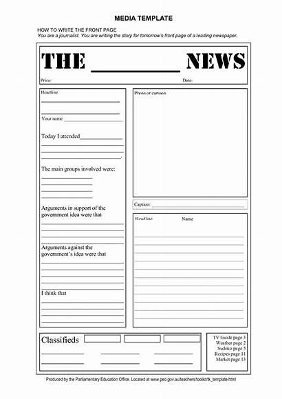 Template Newspaper Blank Layout Templates Printable Scrapbook