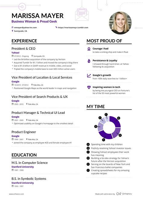 Curriculum Vitae Vs Resume Yahoo by Marissa Mayer S Yahoo Ceo Resume Exle Enhancv