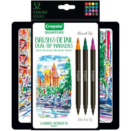 crayola brush detail markers brush tip ultra fine tip