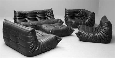 black loveseat for sale vintage black leather togo sofa set by michel ducaroy for