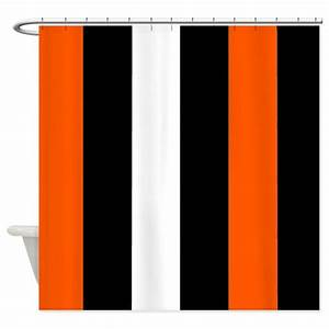 Orange Black And White Stripes Shower Curtain by ...