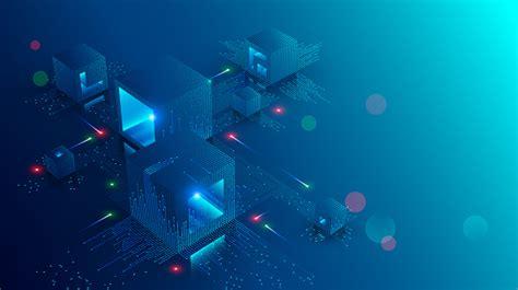 blockchain concept banner isometric digital blocks