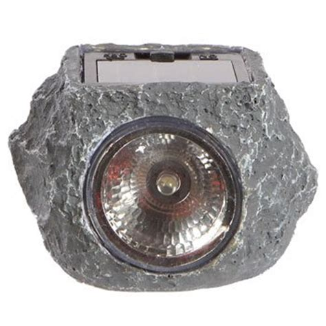 mini outdoor solar powered led garden rock light 3 pack