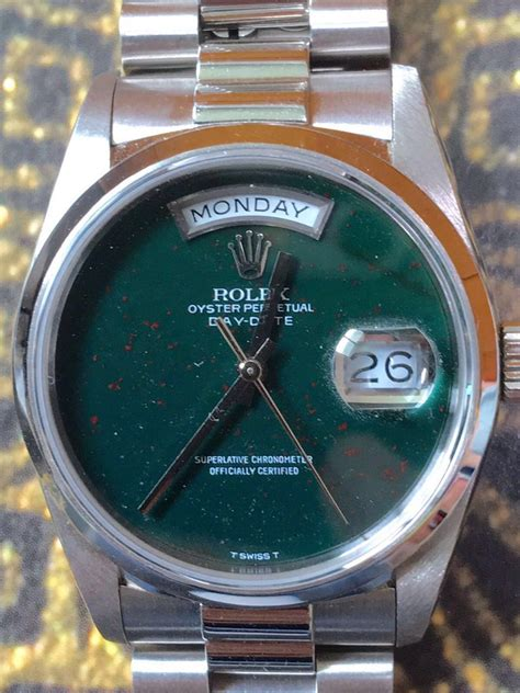 hong kong  fever rolex day date ref  bloodstone dial