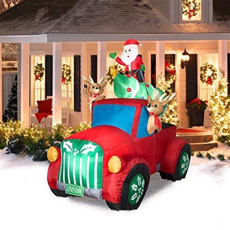 christmas santa inflatable decorations yard truck tree roof retro amazon
