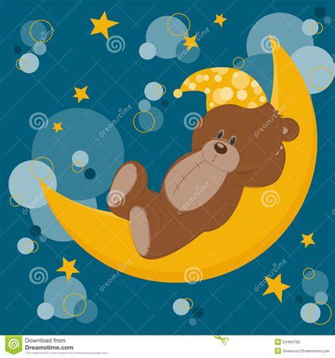 card  sleeping teddy bear royalty  stock image