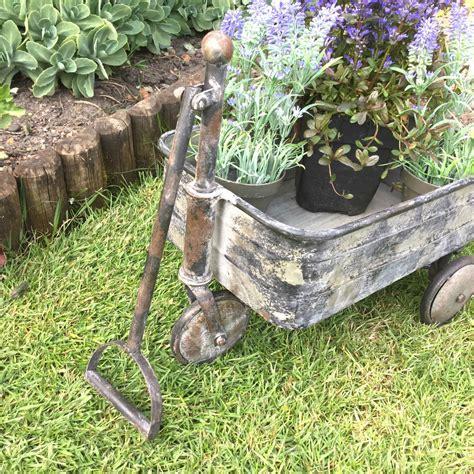 Antique Vintage Style Metal Garden Cart Trolley Plant