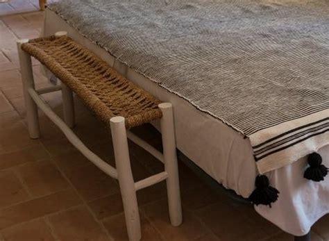 banquette etroite en bois de laurier  corde coton
