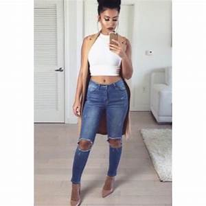 Coat tan ripped jeans tumblr tumblr outfit sleeveless - Wheretoget