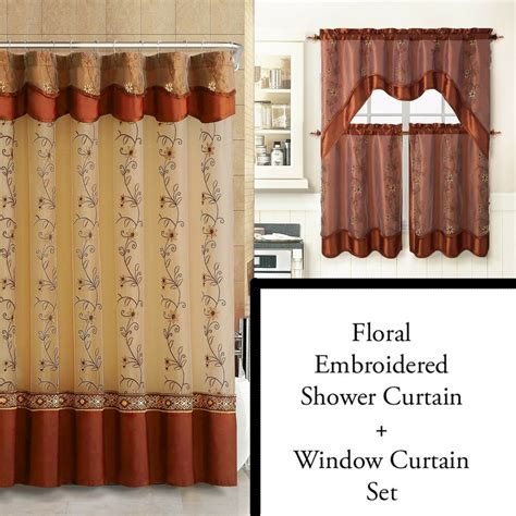 Shower Curtain Set - cinnamon shower curtain and 3pc window curtain set