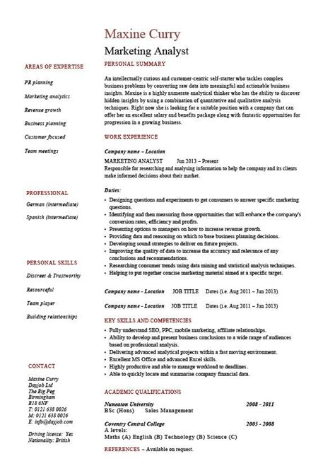 Sle Of Key Skills In Resume by Marketing Analyst Resume Exle Sle Template Sales Customers Description Key Skills