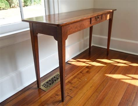 table co wright table company vintage wood console with brass pull the local vault