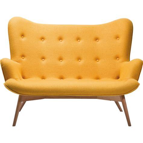 canapé 2 places design canapé retro en tissu jaune wings meubles kare