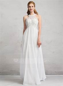empire scoop neck floor length chiffon lace wedding dress With wedding dresses floor length