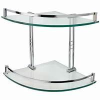glass corner shelves Engel Tempered Glass Corner Shelf - Two Shelves - Bathroom