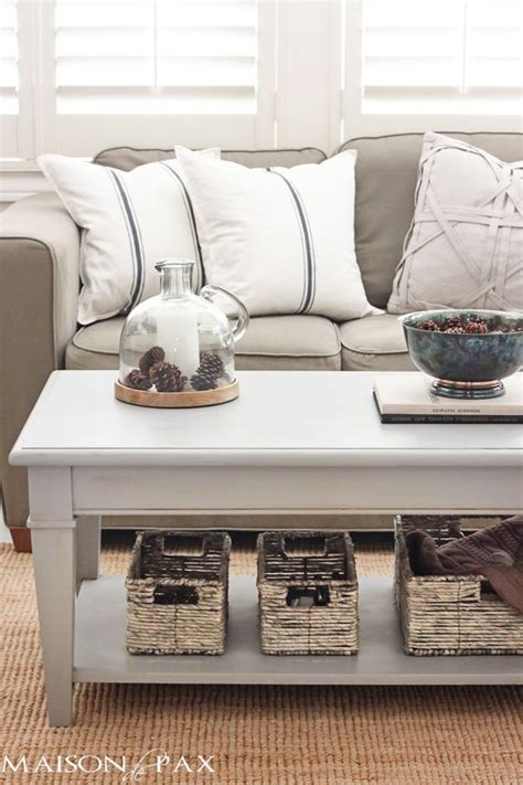gray chalk paint coffee  side table diy living room
