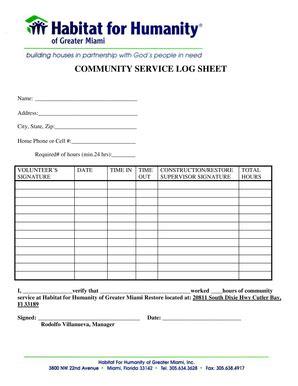 19 printable community service hours log sheet template