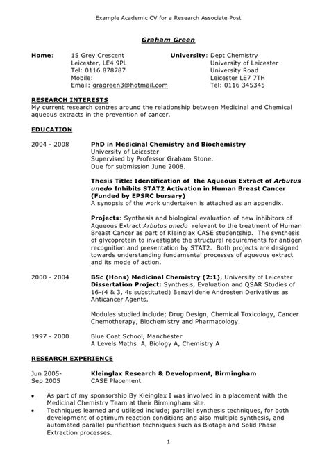 How To Create An Academic Cv by Exle Academic Cv