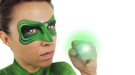green lantern face  body paint tutorial youtube