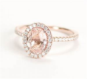 certified peach pink champagne sapphire diamond halo With champagne wedding ring