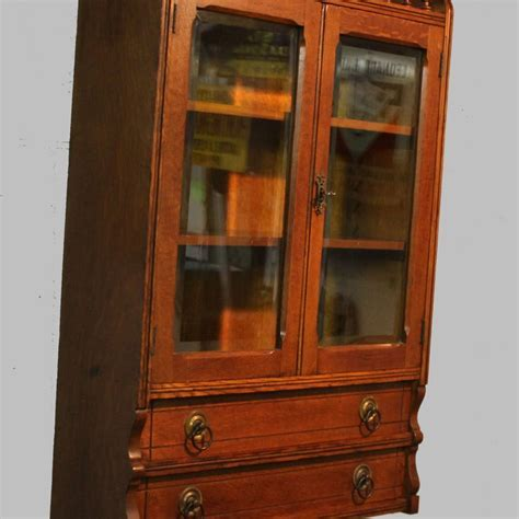 Bargain John's Antiques   Antique Oak Wall Curio Cabinet