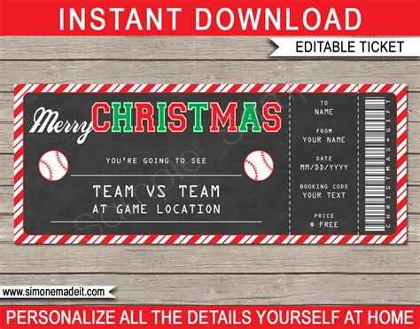 christmas gift baseball ticket template printable