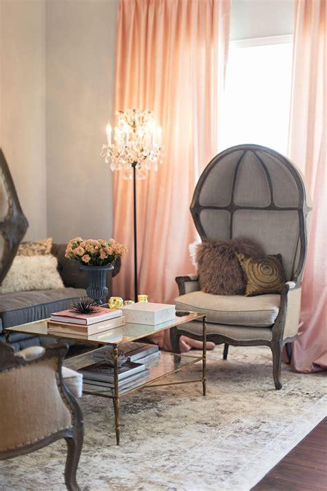 feminine living room  blush  grey feminine living