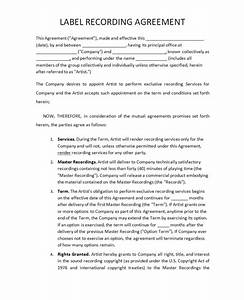 Music recording contract free printable documents for Record label contracts templates
