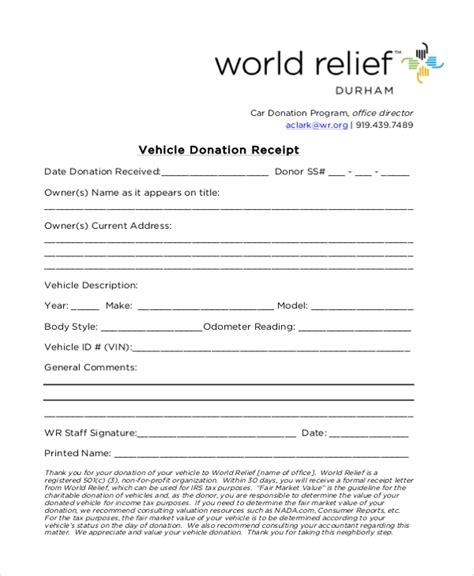 vehicle donation form sle donation receipt form 8 free documents in pdf