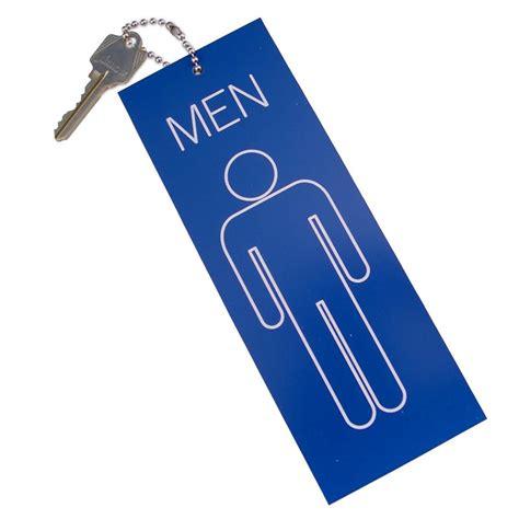 Mens Restroom Key Tag Jumbo Keyring Black 84501