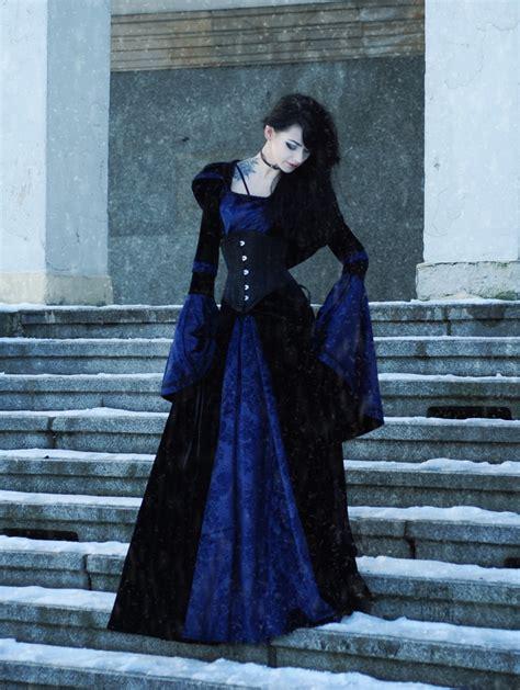 navy blue  black velvet gothic hooded medieval gown darkinclosetcom