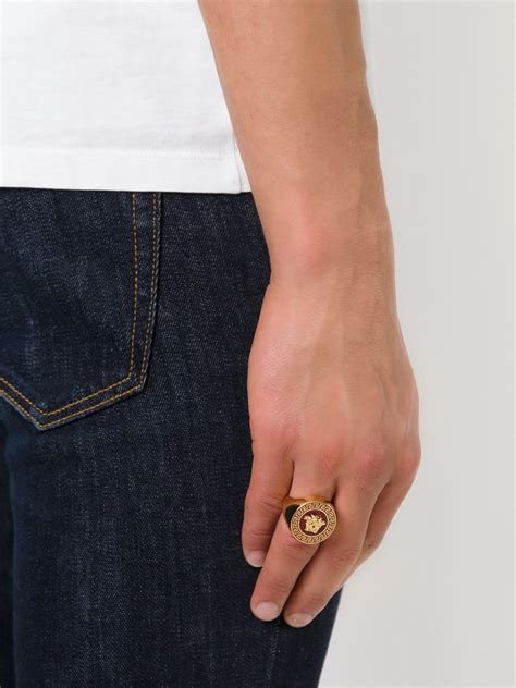 lyst versace medusa ring  red