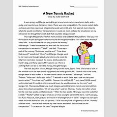 A New Tennis Racket Reading Comprehension Worksheet  Have Fun Teaching