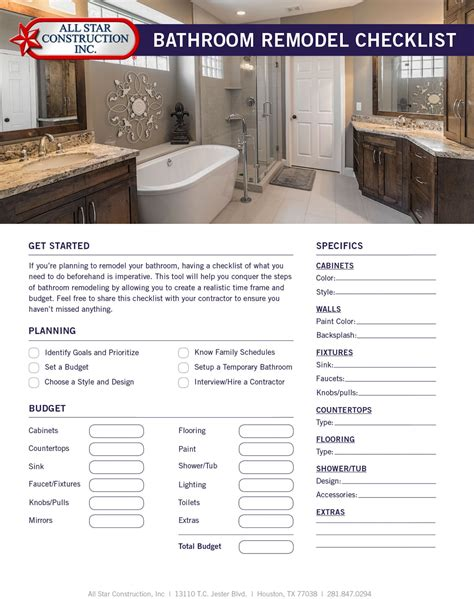 bathroom remodel checklist  star construction