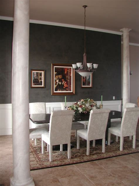 black plaster accent wall dining room