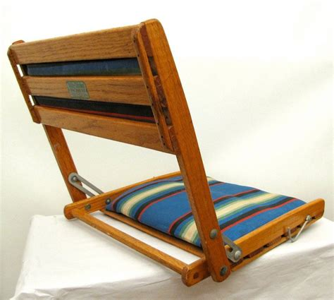 Vintage Folding Boat Seat by Summer C Vintage Folding Oak And Striped Canvas