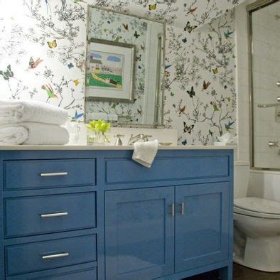 Blue Bathroom Cabinets by Lacquer In The Bath Painted Blue Cabinets Lacquered