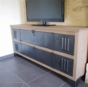 Buffet Metal Et Bois : meuble tv buffet bois metal industriel sur artisanale ~ Melissatoandfro.com Idées de Décoration