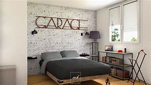 decoration industrielle neutre mes conception 3d With deco chambre adulte homme