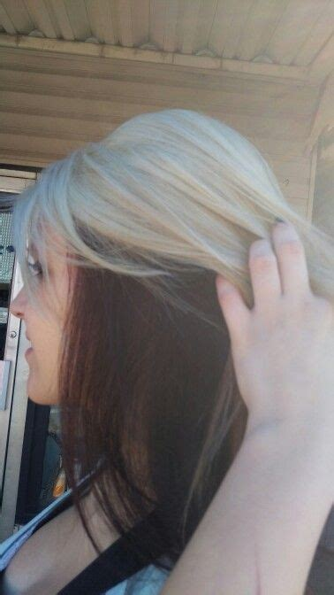 Platinum Blonde Burgundy Red Underneath Hair Color Idea