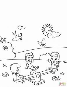 kids play at seesaw coloring page free printable With the colorplay