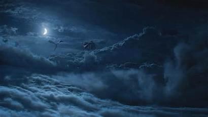 Thrones Dragon Moon Night Clouds Tv Fantasy