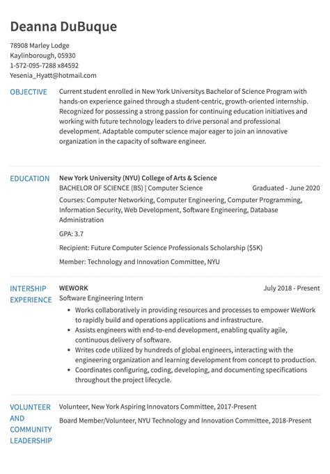 Resume For Internship Template by Internship Resume Exle Resume