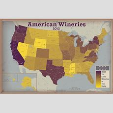 America's 9000 Wineries Mapped By State [heatmap]