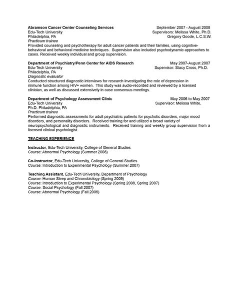 psychology cv template 28 images curriculum vitae sle