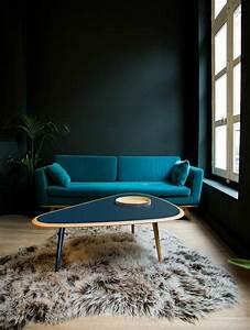 on met l39accent sur la couleur de peinture pour salon With tapis de gym avec canapé vert foncé