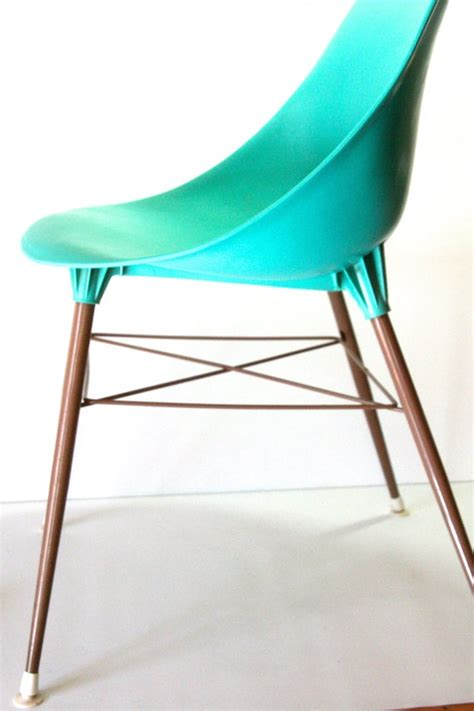 vintage turquoise teal aqua molded plastic shell chair